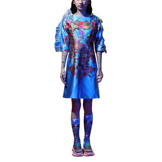 Ruffles Forbidden Walled City Placement Print Dress