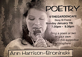 Ann Harrison-Broninski - poster for poetry reading