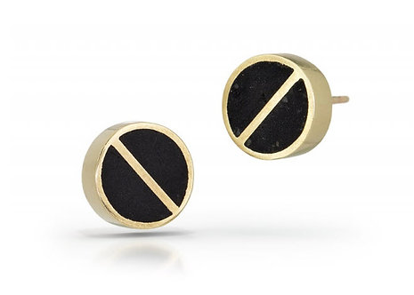 14K Gold Bisected Circle Concrete Studs