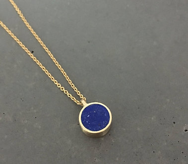 14K Gold and Lapis Concrete Small Circle Necklace