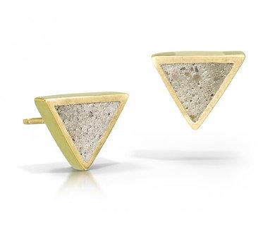 14K Gold & Concrete Triangle Studs (Silver Version $65)