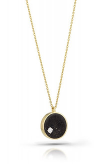 Diamond in Black Concrete- 3/4 inch, 14K Gold