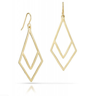 "14K Gold ""V"" Earrings (Silver Version $55)"
