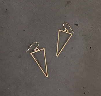 14K Gold Triangle Earrings (Silver Version $45)