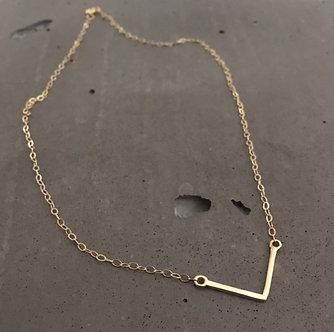 14K Gold V Necklace (Silver Version $45)