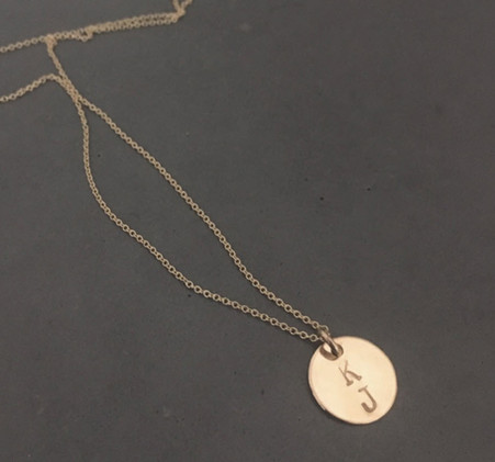 "14K gold 1/2"" circle with two Initials"