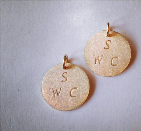 Three initials on 3/4 inch circle