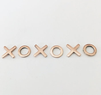 "14K Rose or 14K Yellow Gold ""XO"" Earrings (Silver Version $40)"