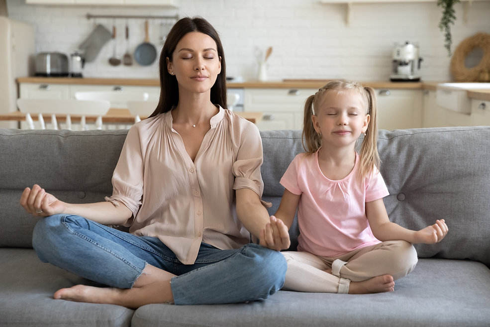 Healthy young adult parent mother and li
