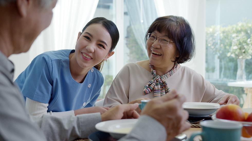 Attractive young senior asian citizen co