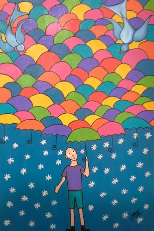 O menino e os guarda-chuvas - 60 x 40 cm - por Juliano Silva
