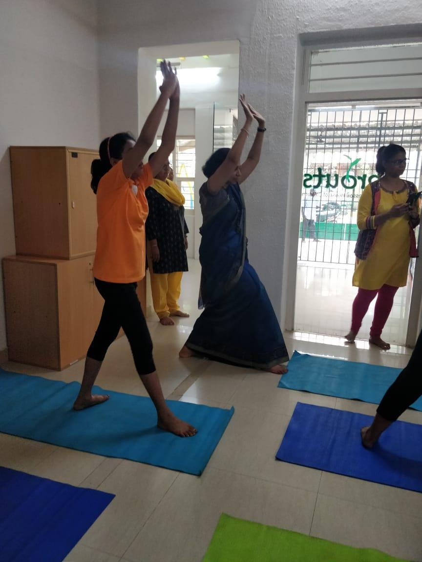 Smita ma_am joins the Yoga session