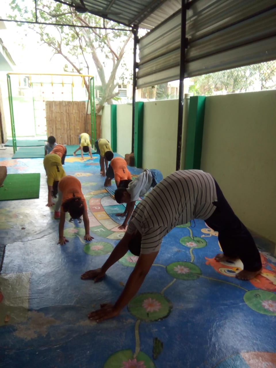 Parvatasana with their PT_ Yoga instruct