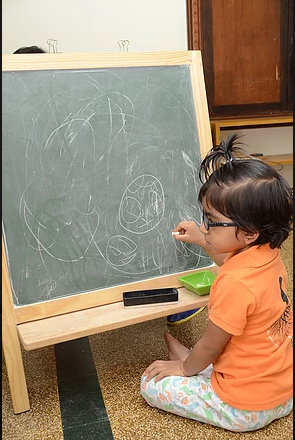 Chalking allows the child to explore
