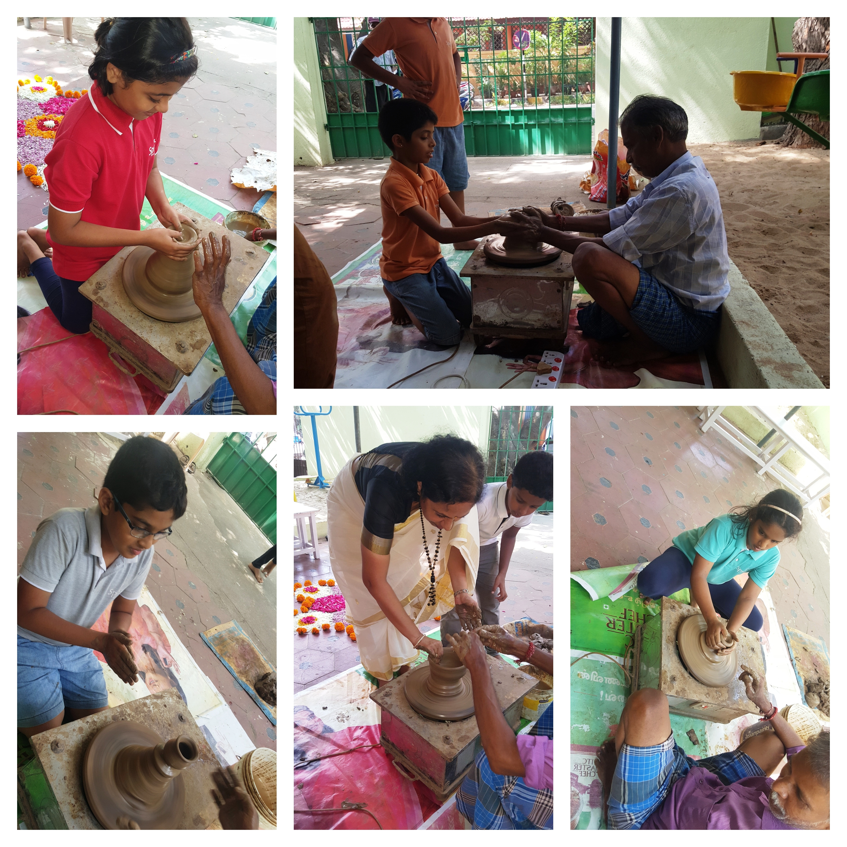 Trying their hand at Pottery