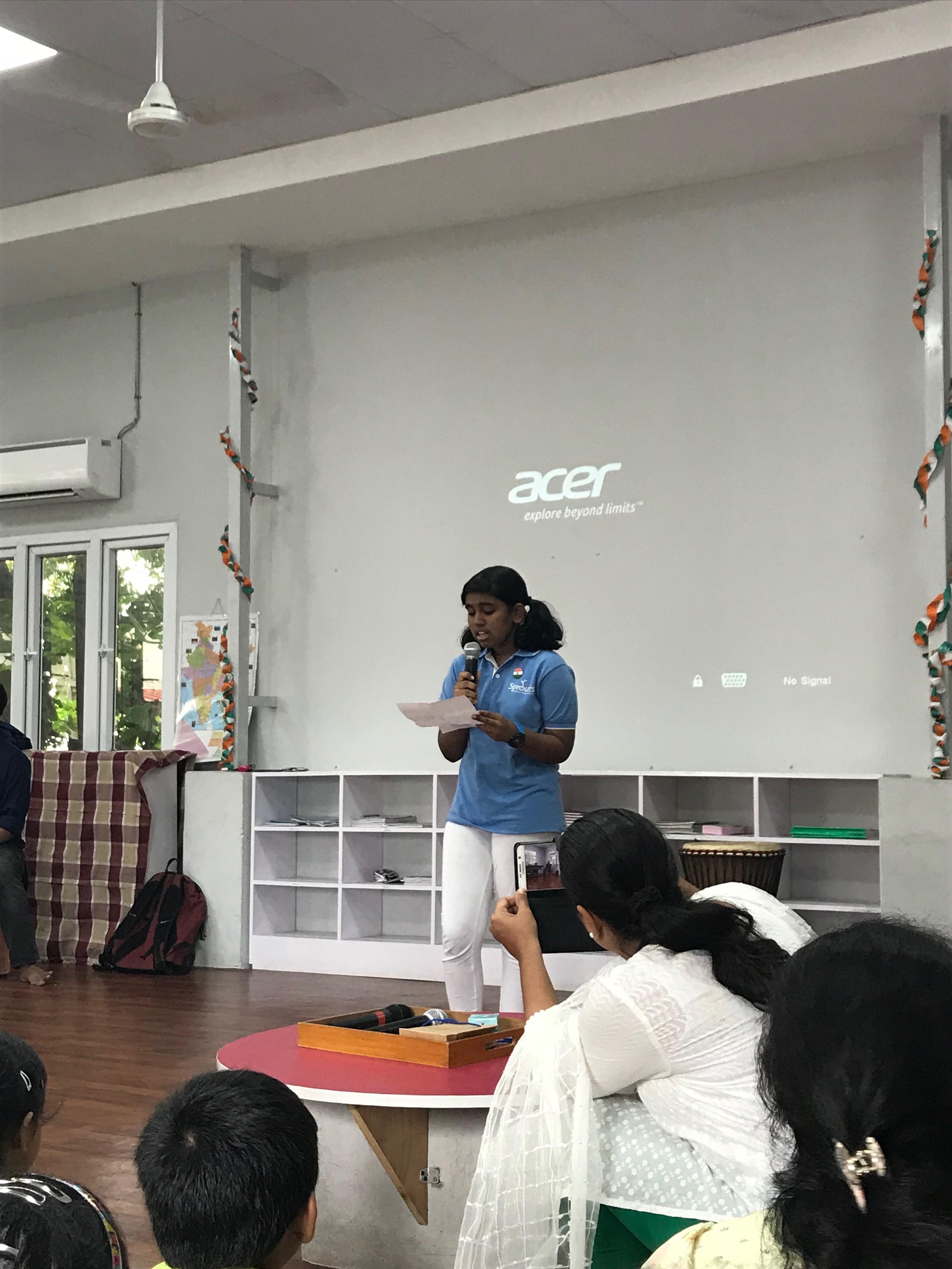 Tamil poem recital by Sarah