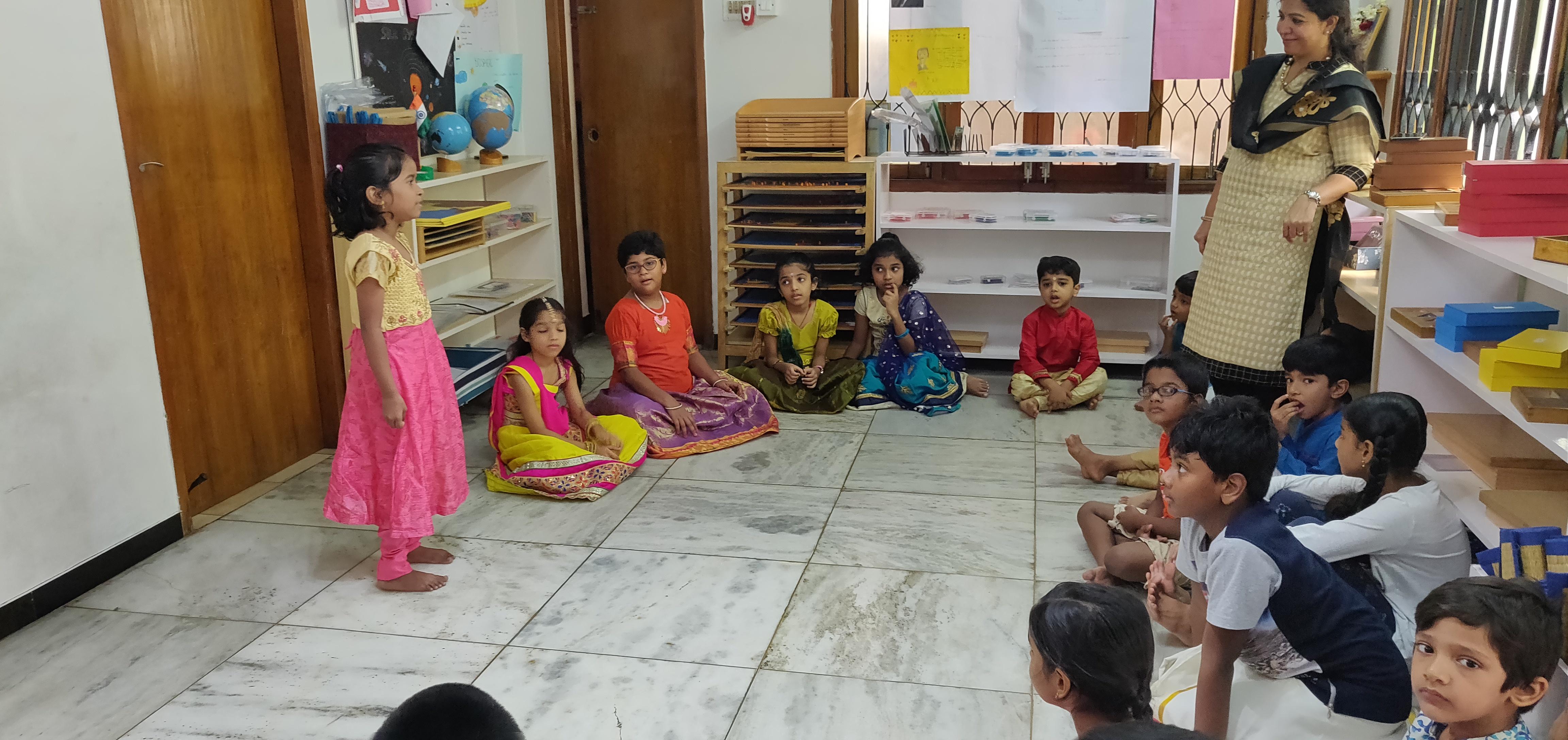Jiya singing songs for her class