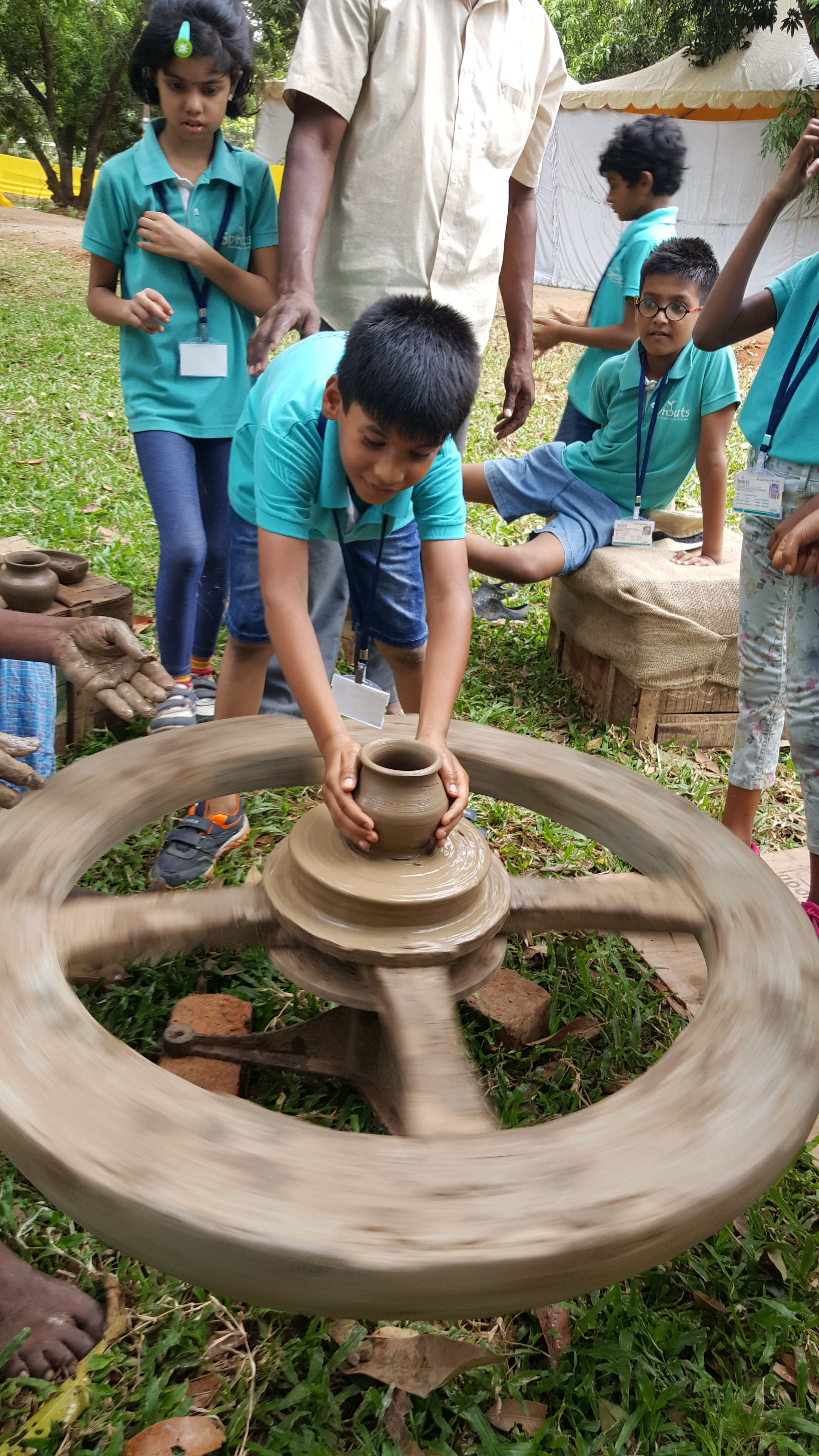 Tanveer trying his hand at Pottery