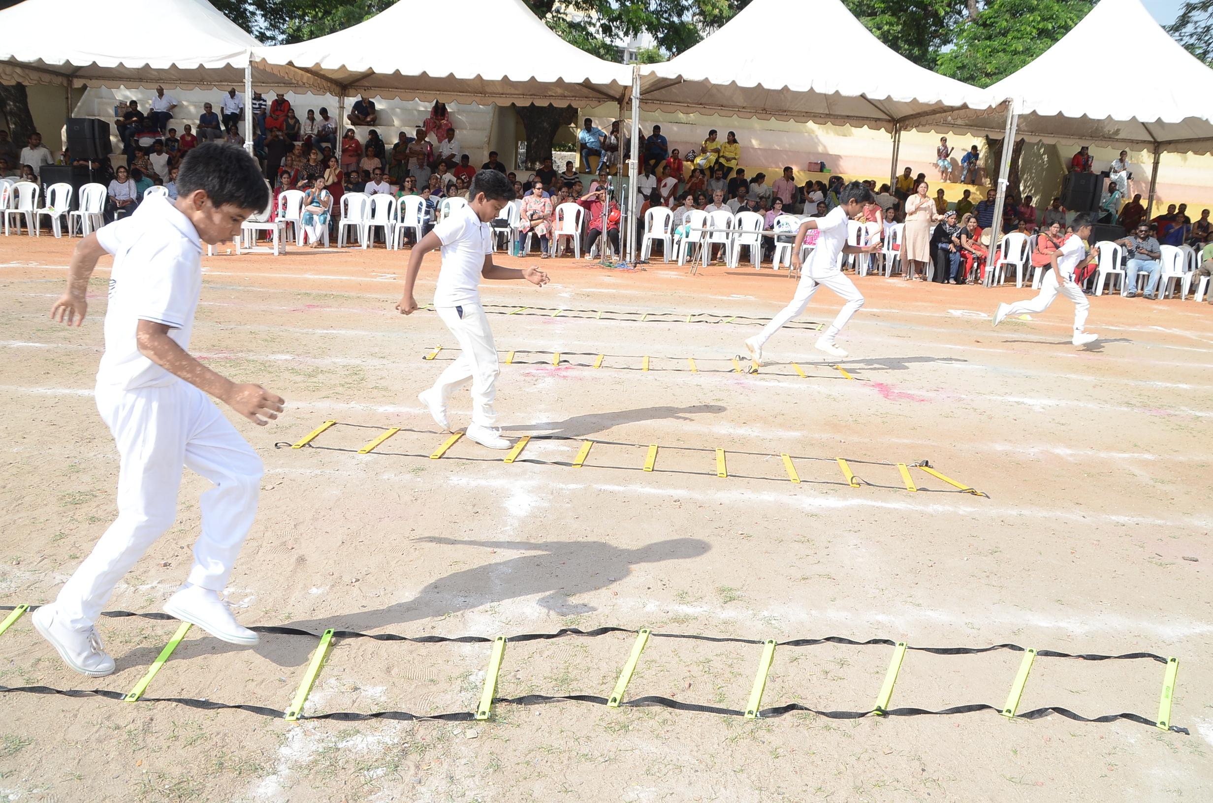 Skirting through ladder to cross hurdles