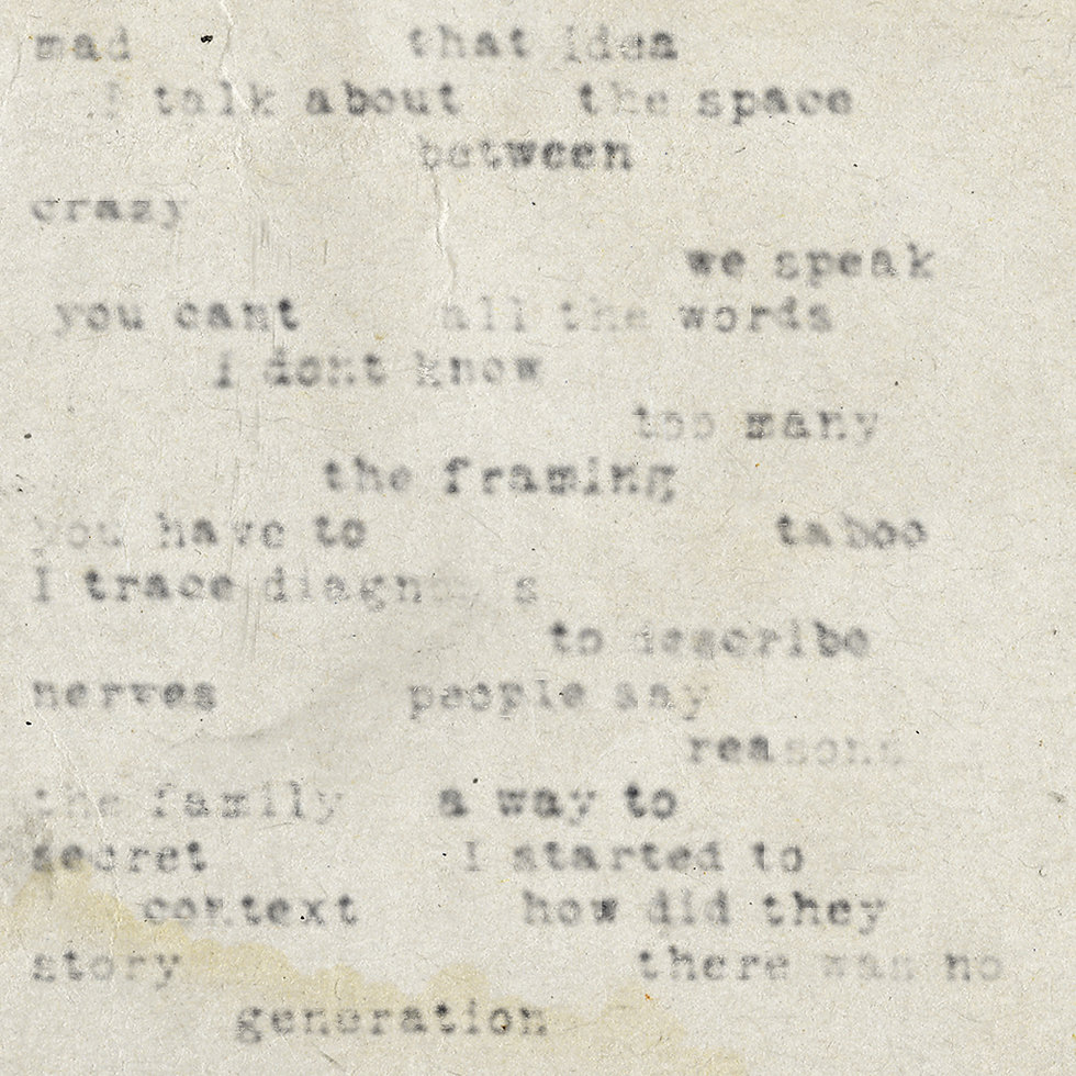 blurry randomly spaced words about mental healt