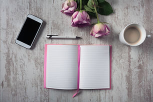 High angle view of open empty notebook,