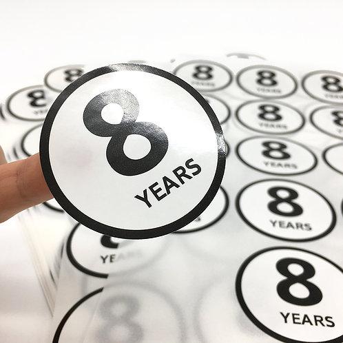 8 YEARS 圓形貼紙