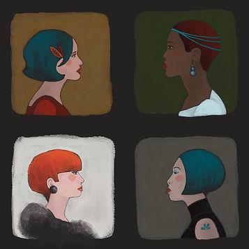 city girls heads people illustration loddelina