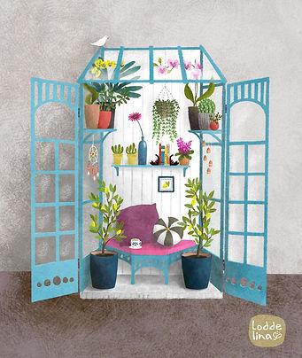 greenhouse botanical illustration loddelina editorial plants garden