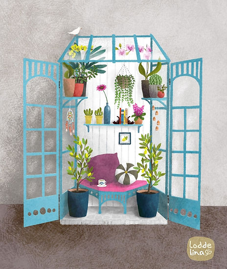 greenhouse loddelina illustration botanical garden plants editorial
