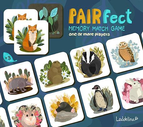 Memory game toy loddelina illustration animals