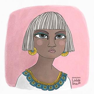 cleopatra girl face head shot loddelina editorial illustration