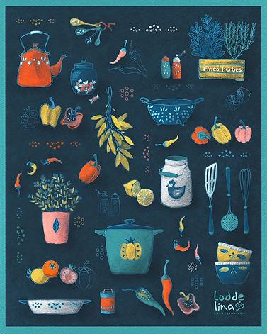 loddelina pattern surface bolt fabric design illustration vintage kitchen