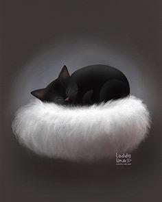 cat kitten cute card children loddelina illustration