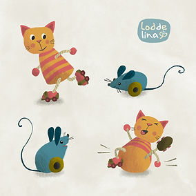 children's book illustration character cat mouse loddelina