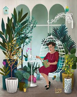 garden editorial illustration loddelina plants conservatory