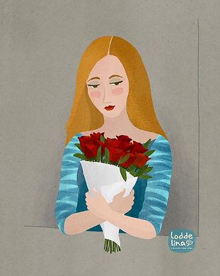 girl red roses valentine illustration loddelina