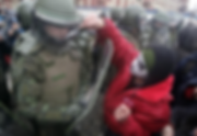 Student demonstrator dressed as Ginosaji - Santiago, Chile