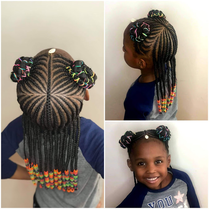 Kids medium two layers & 2 ponytails