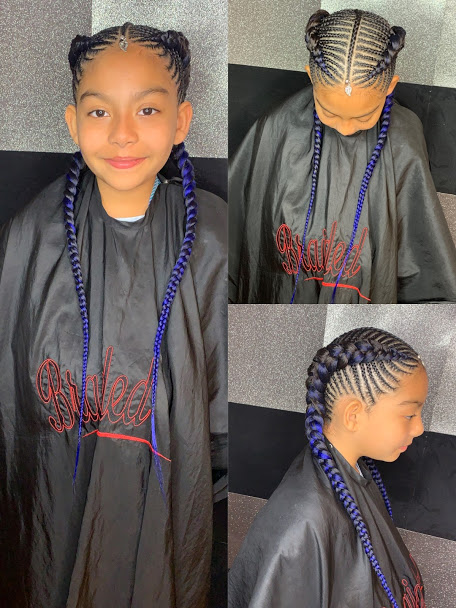 Kids two fishbone braids with extensios