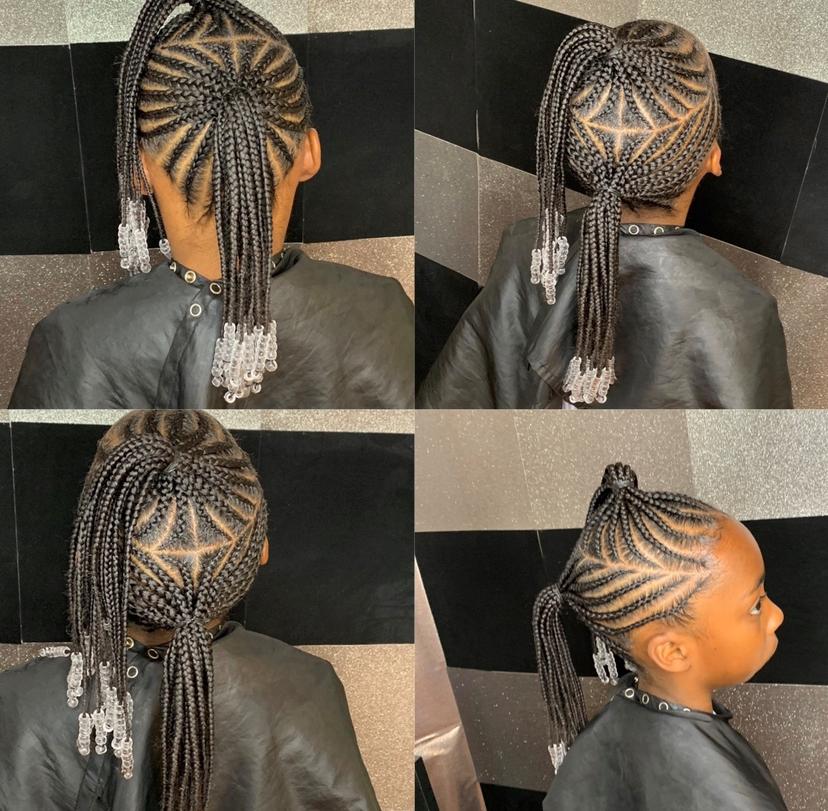 Kids medium two braided ponytails