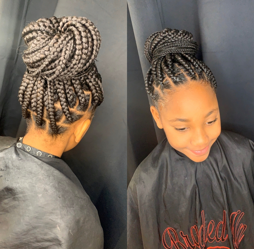Kids large knotless box braids