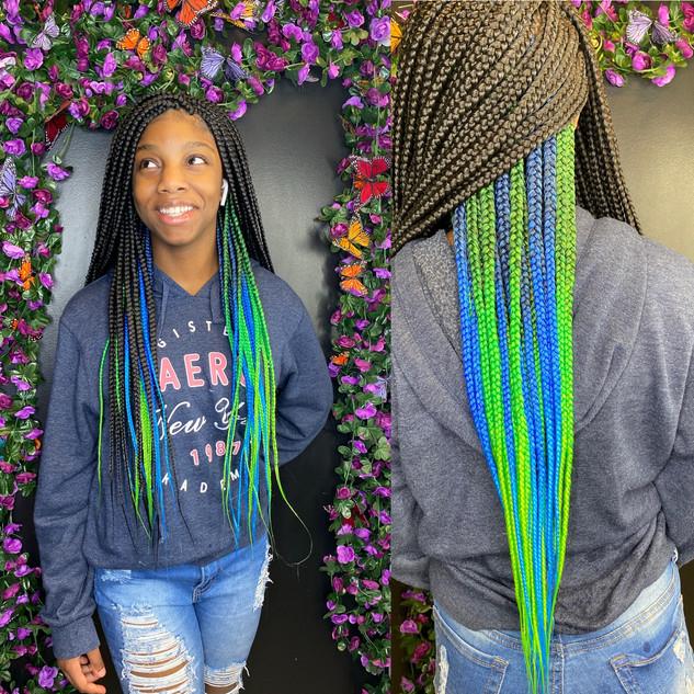 Medium box braids waist length