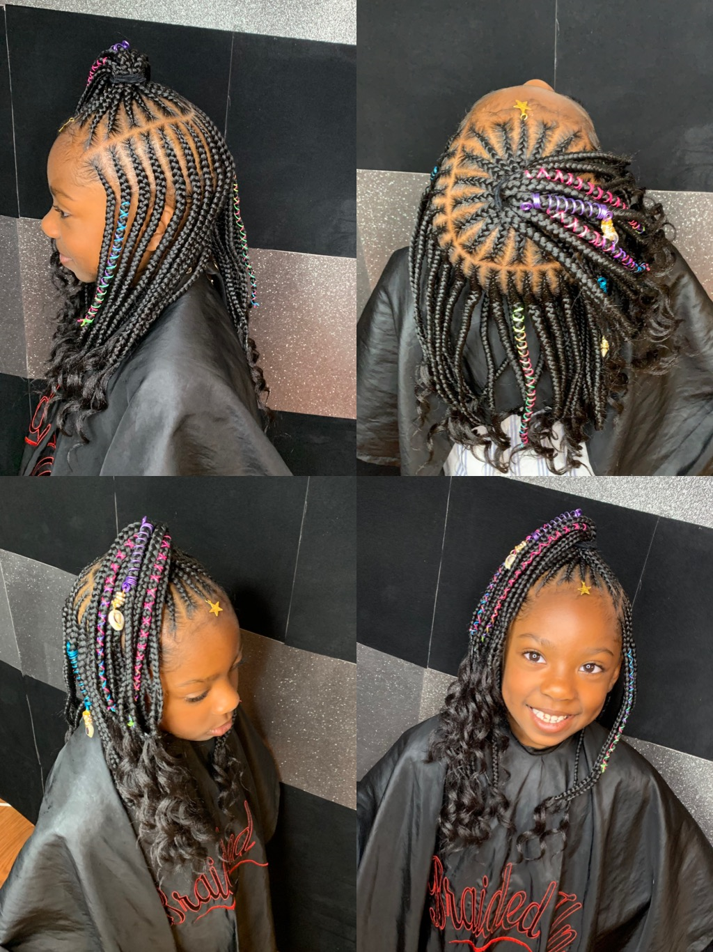 Kids medium 2 layers w/ top ponytail