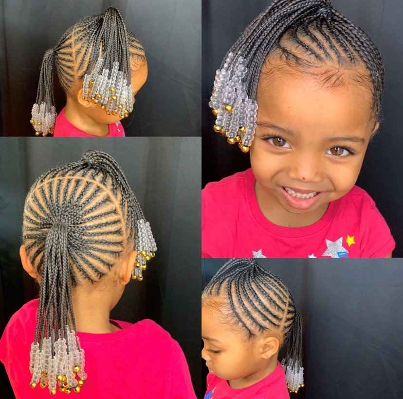small two braided ponytails and bead