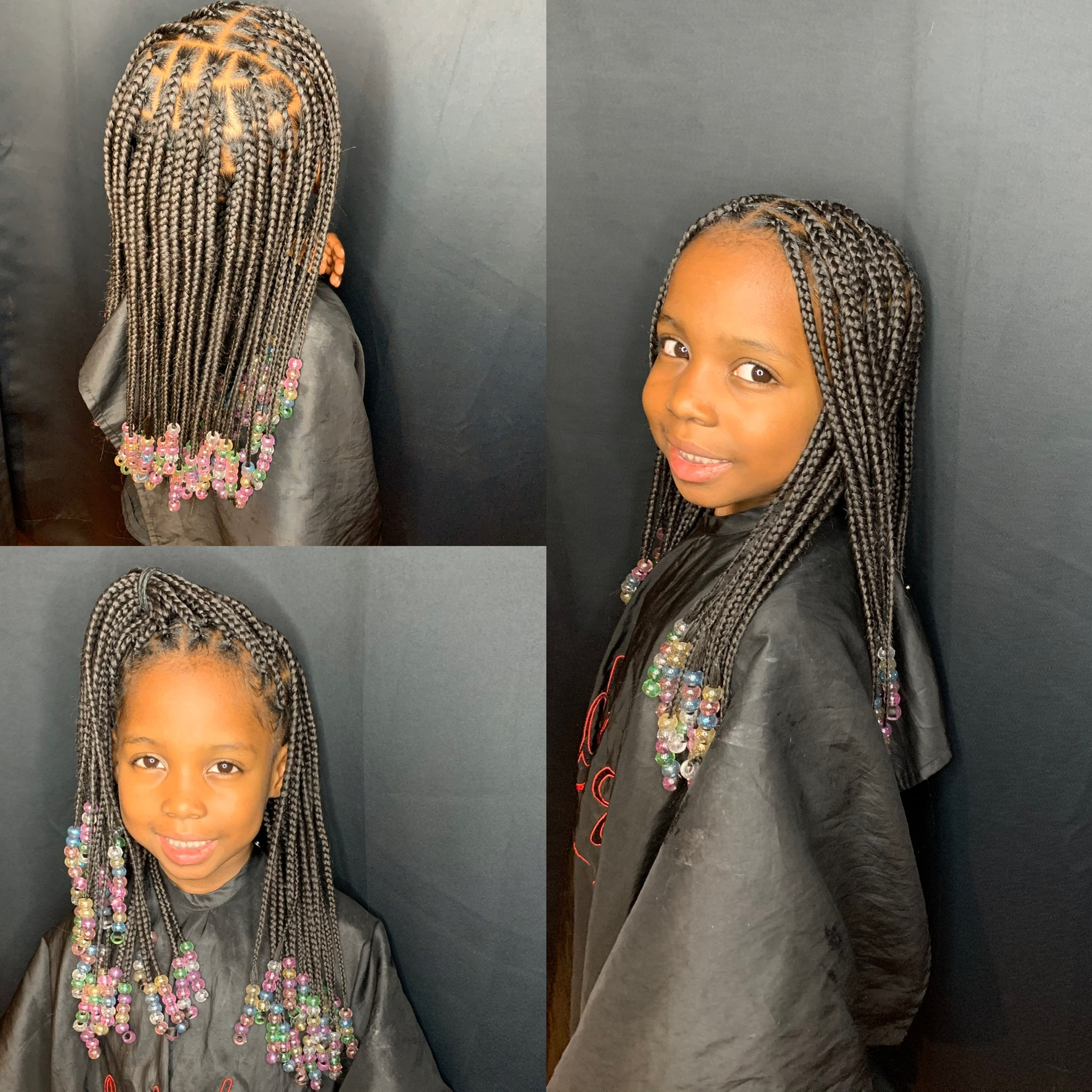 Kids medium knotless box braids
