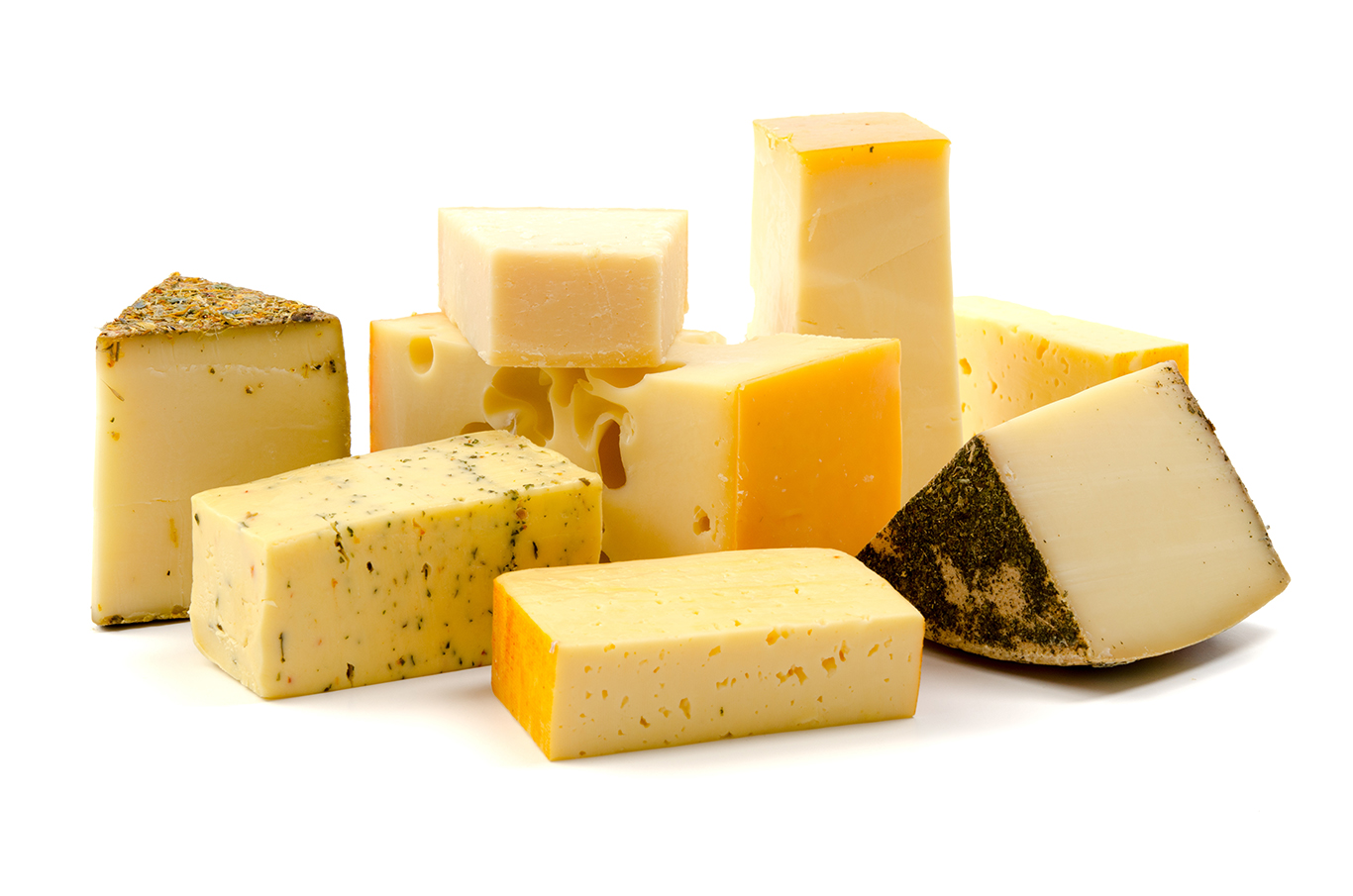 Cheeses on white backgrouns