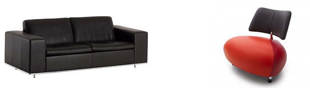 Equipement design canapé cuir et fauteuil Leolux Creator Pallone