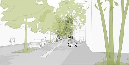Vue d'artiste du nouvel aménagement de la Rue du Tunnel à Carouge