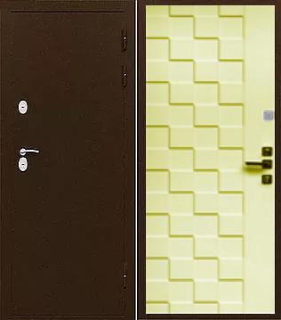 Входная стальная дверь с терморазрывом ИЗОТЕРМА-2 лиственница бежевая
