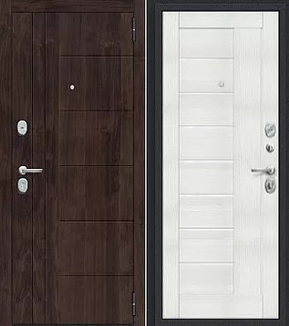 входная дверь Porta Модерн (Темная Вишня)/Bianco Veralinga